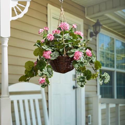 Pure Garden Hot Pink Geranium Faux Flowers Hanging Natural and Lifelike Floral Arrangement with Basket