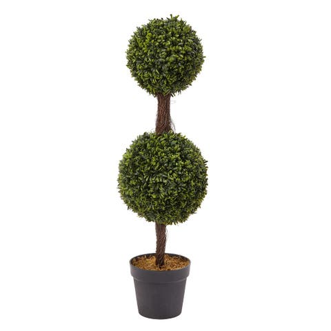 Pure Garden Artificial Indoor/Outdoor Podocarpus Double-ball Topiary Plant in Sturdy Pot