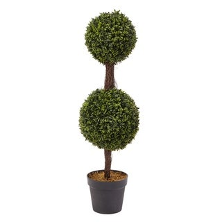 Pure Garden Artificial Indoor/Outdoor Podocarpus Double-ball Topiary Plant in Sturdy Pot