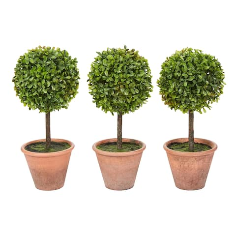 Pure Garden Matching Realistic 11.5-Inch Faux Boxwood Topiary Arrangements in Decorative Pots (Set of 3)