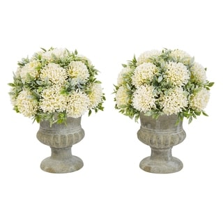 Pure Garden 9.5-Inch Plastic Greenery Arrangement with Glitter and Decorative Urns (Set of 2)