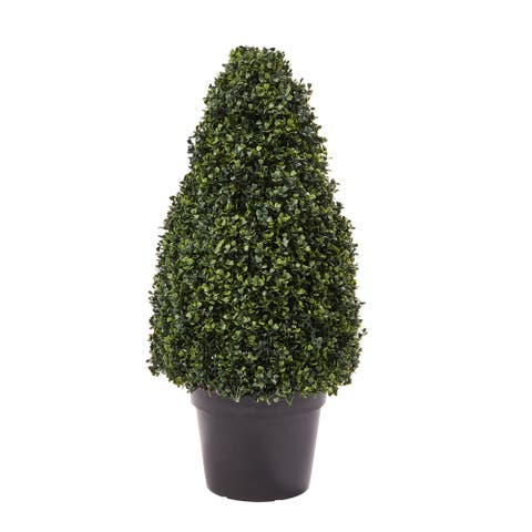 Pure Garden 36-inch Artificial Boxwood Topiary-Tower Style Faux Plant in Sturdy Pot Realistic Indoor or Outdoor Potted Shrub