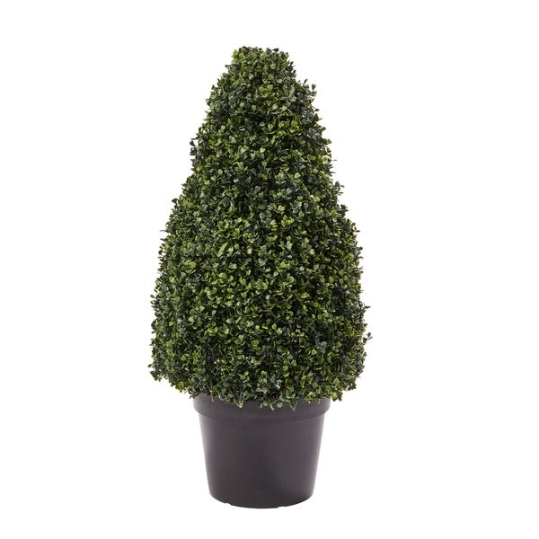 Pure Garden 36-inch Artificial Boxwood Topiary-Tower Style Faux Plant in Sturdy Pot Realistic Indoor or Outdoor Potted Shrub. Opens flyout.