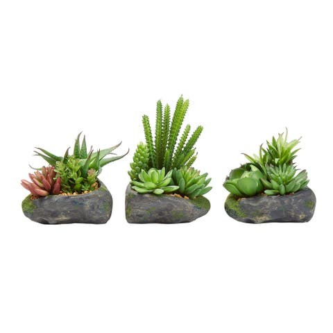Artificial Succulent Plant Arrangements in Faux Stone Pots- 3 Piece Set in Assorted Sizes, Lifelike Greenery by Pure Garden