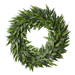 Pure Garden Artificial Ficus Mqcrophylla Leaf Wreath 22-inch Indoor Lifelike Round Faux Greenery