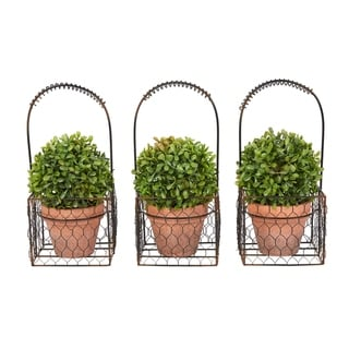 "Faux Boxwood- Set of 3 Matching Realistic 9.5"" Tall Topiary Arrangements in Decorative Metal Baskets by Pure Garden"