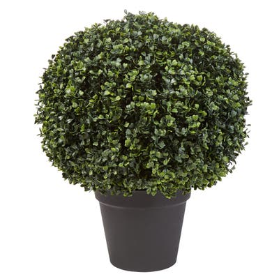 Pure Garden Faux Boxwood 23-inch x 18-inch Realistic Decorative Topiary Arrangement and Weighted Pot for Indoor or Outdoor