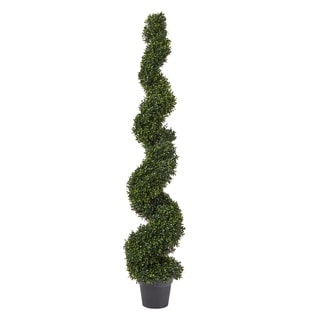 Link to Pure Graden 5-foot Faux-boxwood Spiral Topiary Arrangement in Weighted Pot Similar Items in Decorative Accessories