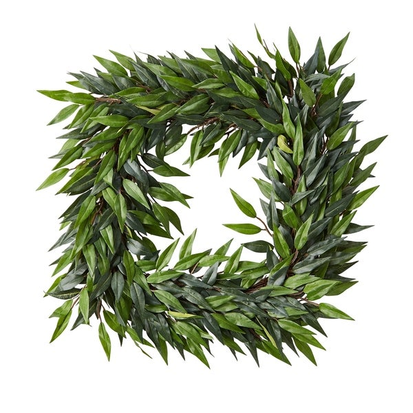 Pure Garden 22-inch Square Artificial Ficus Microphylla Leaf Wreath Indoor Lifelike Faux Greenery