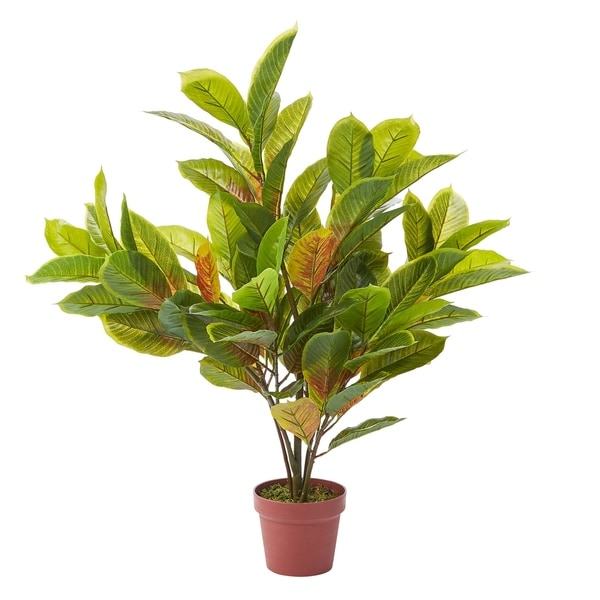 Pure Garden Faux Croton Plant with Weighted Pot
