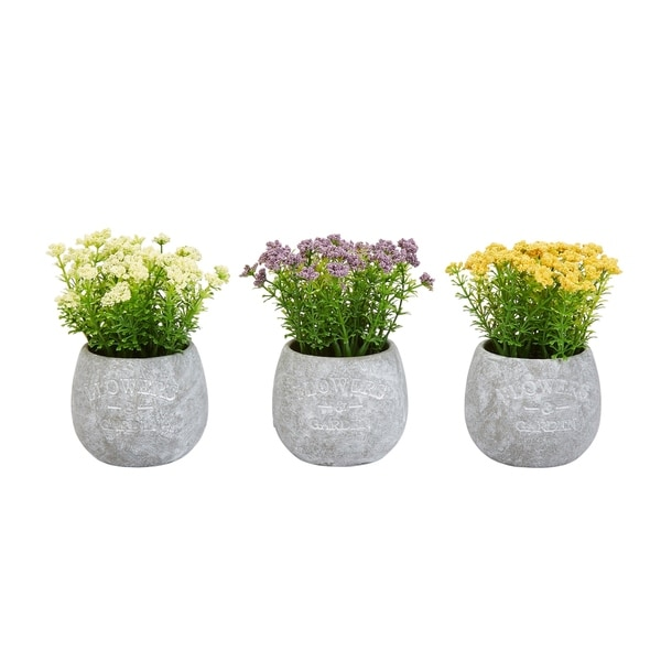 Pure Garden 6.25-inch Tall 3-piece Assorted Natural Lifelike Faux Flower Arrangements in Vases