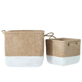 UTC59816: Cement Square Basket with Basket Weave Design Body LG Set of Two Painted Finish Apricot