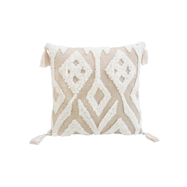 Corded Morocco Embroidered Throw Pillow - Beige