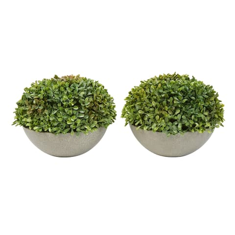 "Faux Boxwood- Set of 2 Matching Realistic 6"" Tall Topiary Arrangements in Decorative Stone Bowls by Pure Garden"