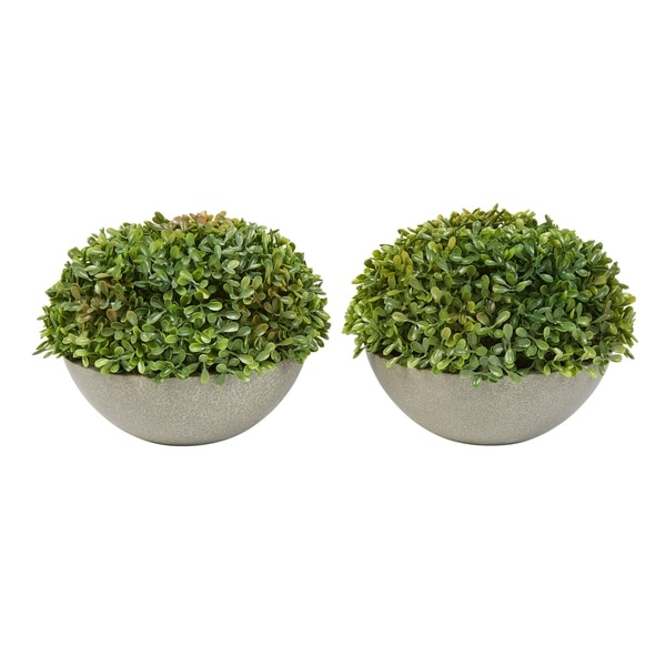 """Faux Boxwood- Set of 2 Matching Realistic 6"""" Tall Topiary Arrangements in Decorative Stone Bowls by Pure Garden. Opens flyout."""