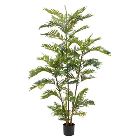 Pure Garden 72-inch Artificial Golden Cane Palm Tree-Faux Plant Realistic Potted Topiary in Pot with Natural Feel Leaves
