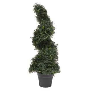 Link to Pure Garden 3-foot-tall Indoor/Outdoor Potted Artificial Cypress Spiral Topiary Tree Similar Items in Decorative Accessories