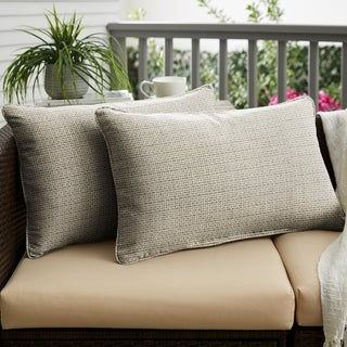 Sunbrella Grey Ivory Indoor/Outdoor Lumbar Pillow, Set of 2