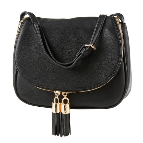 Saro Lifestyle Vegan Black Leather Cross Body Bag with Tassel Design
