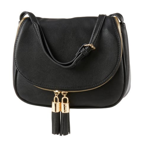 Vegan Leather Cross Body Bag with Tassel Design