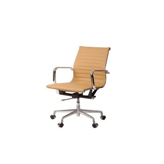 Mid-Century Modern Mid Back Office Chair in Brown Leather