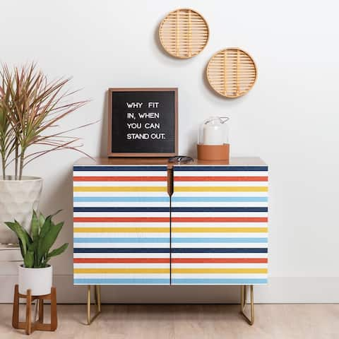 Deny Designs Multi Stripe Credenza (Birch or Walnut, 2 Leg Options)