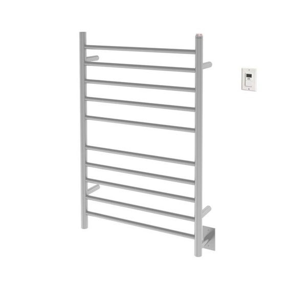 Ancona Comfort Dual 10-Bar Hardwired and Plug-in Towel Warmer in Brushed Stainless Steel with Timer