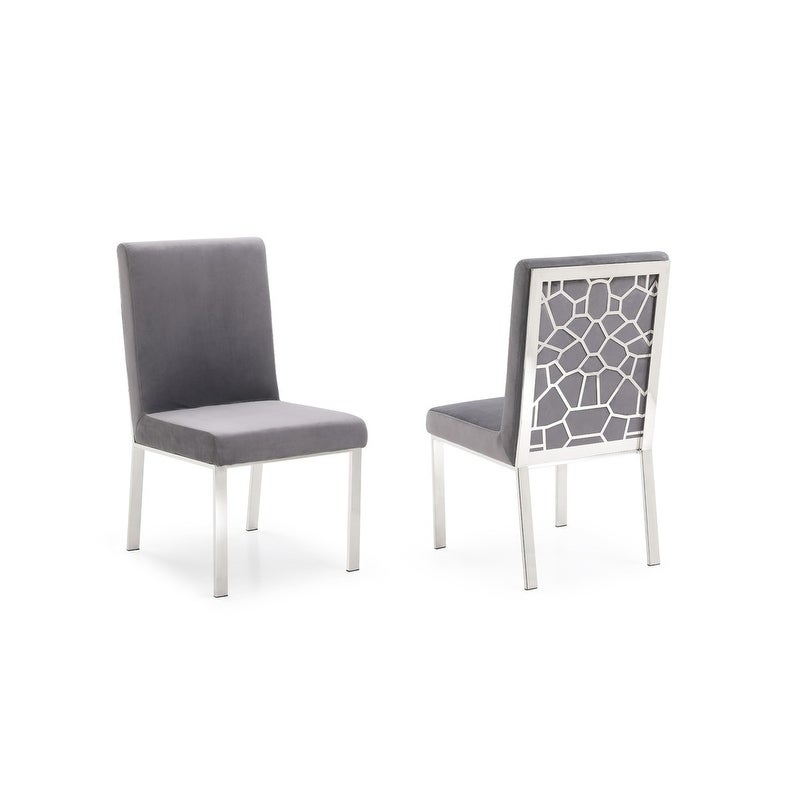 new style 49f15 d62aa Modrest Reba Modern Grey Velvet & Stainless Steel Dining Chair (Set of 2)