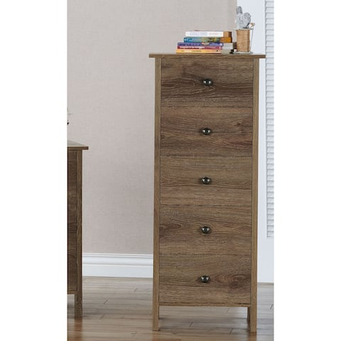 Shane Rustic Distressed Walnut 5-Drawer Vertical Chest by FOA