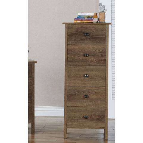 Carbon Loft Mulgrew Distressed Walnut 5-drawer Vertical Chest