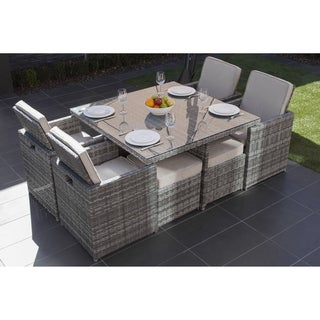 DIRECT WICKER 9-piece Grey or Brown Wicker Patio Table Sofa Dining Set