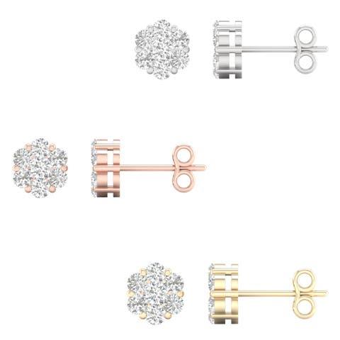 1/2ct TDW Diamond Cluster Stud Earrings in 10k Gold by De Couer