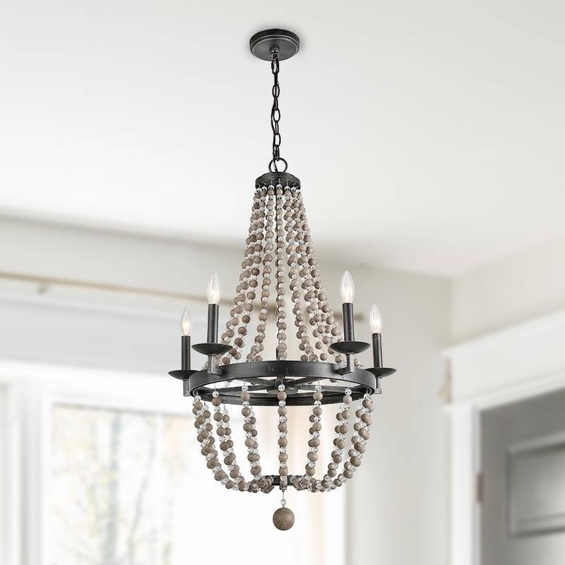 5 Light Wood Bead Empire Chandeliers Bohemian Lighting 22