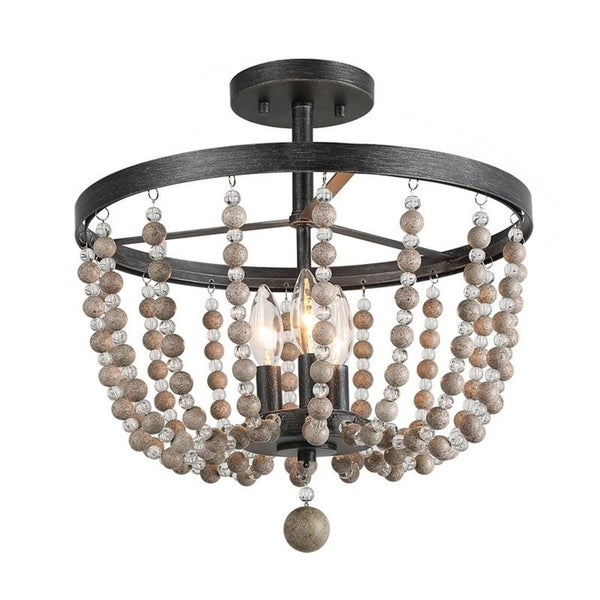 3-Light Flush Mounts Distressed Wood Beads Ceiling Lights