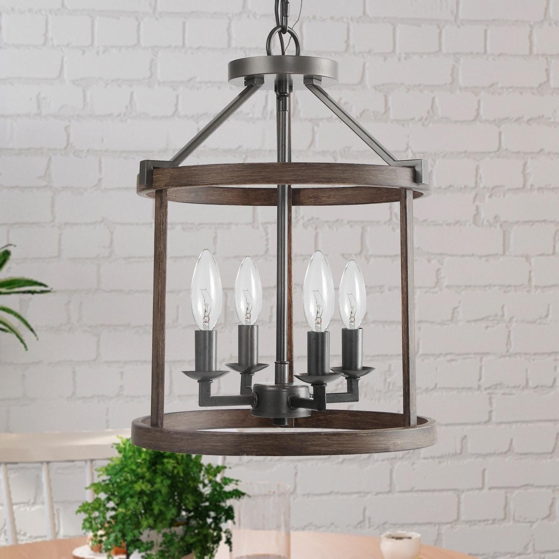 Shop Black Friday Deals On Farmhouse 4 Light Foyer Hanging Lantern Pendant Lighting W13 X H17 1 Overstock 27744469