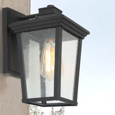 "Farmhouse 1-Light Square Black Patio Wall Sconces Outdoor Wall Lighting - W6.5""x H11""x E8.7"" - W6.5""x H11""x E8.7"""