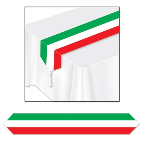 """Beistle 11"""" x 6' Printed Red, White and Green Table Runner - 12 Pack (1/Pkg)"""