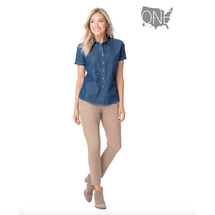 One Country United Womens Short Sleeve Denim Top