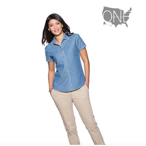 One Country United Women's Short Sleeve Denim Top, Faded Blue