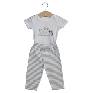 Boy's Everyday Bodysuit and Matching Pants, Animal Trio (3-6 mo)