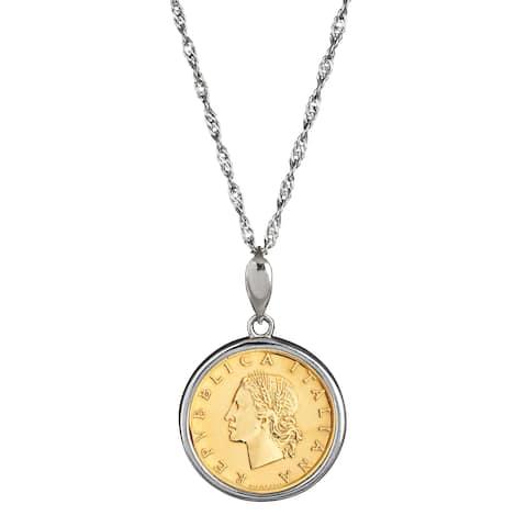American Coin Treasures Italian 20 Lira Coin Sterling Silver Necklace