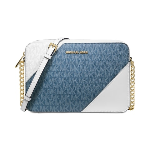 dbe867c268b9 MICHAEL Michael Kors Tricolor Signature East West Crossbody  Blue/Chambray/Gold