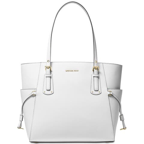 1c5b2e13eb67 MICHAEL Michael Kors Voyager East West Crossgrain Leather Tote Optic White