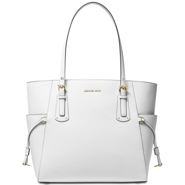 13283f841a9706 MICHAEL Michael Kors Voyager East West Crossgrain Leather Tote Optic White