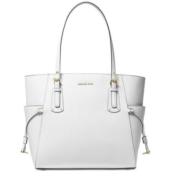 ffc989c2c9ab MICHAEL Michael Kors Voyager East West Crossgrain Leather Tote Optic White