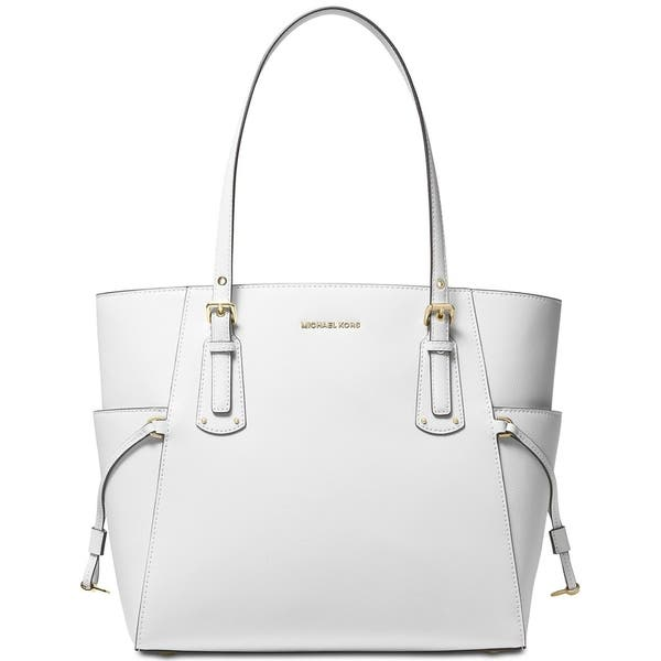 Michael Kors Voyager East West Crossgrain Leather Tote Optic White