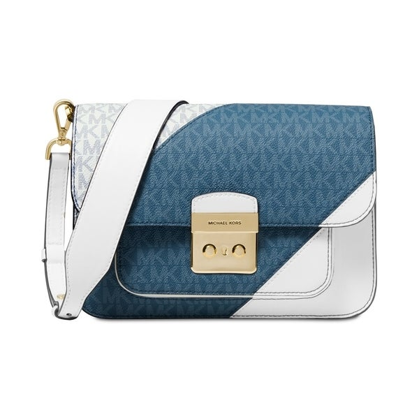 02088bae774946 MICHAEL Michael Kors Sloan Editor Tricolor Signature Shoulder Bag Dark  Chambray/White/Gold