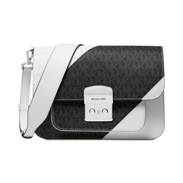 03e0597fe40f MICHAEL Michael Kors Sloan Editor Tricolor Signature Shoulder Bag  White/Black/Silver