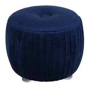 """Link to Cortesi Home Doles Round Ottoman with Clear Acrylic Legs 16"""" High, Navy Blue Similar Items in Living Room Furniture"""