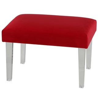"""Cortesi Home Whitecrest Bench Ottoman with Clear Acrylic Legs 24"""" Wide, Red Velvet"""